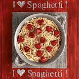 Servietten, 3-lagig Design Edition 1/4-Falz 33 cm x 33 cm I love Spaghetti!, Papstar (85633), 180 Stück