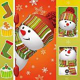 Servietten, 3-lagig 1/4-Falz 33 cm x 33 cm Funny Snowman, Papstar (85880), 300 Stück