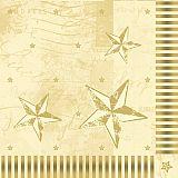 Servietten, 3-lagig 1/4-Falz 40 cm x 40 cm creme Star Shine, Papstar (86045)