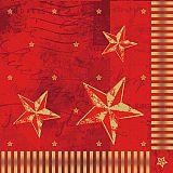 Servietten, 3-lagig 1/4-Falz 40 cm x 40 cm rot Star Shine, Papstar (86046)