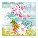 Servietten, 3-lagig 1/4-Falz 33 cm x 33 cm Flamingo, Papstar (86211), 200 Stück