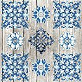 Servietten, 3-lagig 1/4-Falz 33 cm x 33 cm Blue Tiles, Papstar (86212), 200 Stück