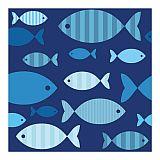 Servietten, 3-lagig 1/4-Falz 33 cm x 33 cm Blue Fish, Papstar (86371), 200 Stück