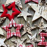 Servietten, 3-lagig 1/4-Falz 33 cm x 33 cm Wooden Stars, Papstar (86527), 300 Stück