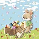 Servietten, 3-lagig 1/4-Falz 33 cm x 33 cm Easter Bunny, Papstar (86711), 300 Stück