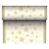 Tischläufer, stoffähnlich, Airlaid 24 m x 40 cm creme Sparkling Stars, Papstar (86775)