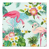 Servietten, 3-lagig 1/4-Falz 33 cm x 33 cm Exotic Flamingos, Papstar (86846), 200 Stück
