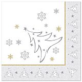 Servietten ROYAL Collection 1/4-Falz 40 cm x 40 cm silber X-Mas Elegance, Papstar (87105)