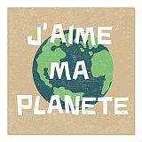 Servietten, 3-lagig 1/4-Falz 33 cm x 33 cm J´aime ma Planete, Papstar (87728), 200 Stück