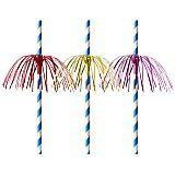 Trinkhalme, Papier Ø 6 mm, 20 cm blau/weiss Fireworks, Papstar (87783)