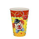 Trinkbecher, Pappe 0,2 l Ø 7 cm, 9,7 cm Clown, Papstar (88646)