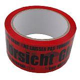 Rollen Klebeband Vorsicht Glas PP, mit Symbol rot, 50mmx66m, Primus (14781-0), 36 Stück
