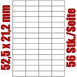 Blatt selbstklebende Universal-Etiketten weiß auf DIN A4, 52,5 x 21,2 mm, Primus (5036-0), 1000 Stück