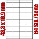 Blatt selbstklebende Universal-Etiketten weiß auf DIN A4, 48,3 x 16,9 mm, Primus (7986-0), 1000 Stück