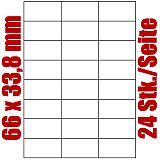 Blatt selbstklebende Universal-Etiketten weiß auf DIN A4, 66 x 33,8 mm, Primus (8491-0), 1000 Stück