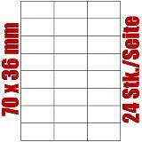 Blatt selbstklebende Universal-Etiketten weiß auf DIN A4, 70 x 36 mm, Primus (8569-0), 1000 Stück