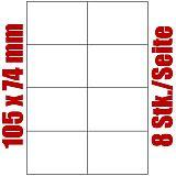 Blatt selbstklebende Universal-Etiketten weiß auf DIN A4, 105 x 74 mm, Primus (9033-0), 1000 Stück
