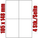 Primus Blatt selbstklebende Universal-Etiketten weiß auf DIN A4, 105 x 148 mm, 9065-0, 1000 Stück