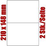 Blatt selbstklebende Universal-Etiketten weiß auf DIN A4, 210 x 148 mm, Primus (9092-0), 1000 Stück