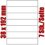 Blatt selbstklebende Rückenschilder weiß auf DIN A4, 38 x 192mm, Primus (9128-0), 1000 Stück
