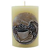Duft-Kerze Ellipse mit Motiv 15 cm x 10 cm x 6,5 cm Handarbeit durchgefärbt creme/Kaffee, tradingbay24 (tb00017)