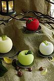Apfelkerze Velours matt Handarbeit Ø 10 cm rot, tradingbay24 (tb00022)