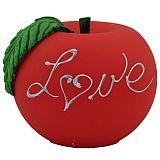 Apfelkerze Love matt Handarbeit Ø 10 cm rot, tradingbay24 (tb00088)