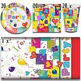 Party-Set Party Mix (61-teilig: Servietten, Teller, Becher, Tischdecke), tradingbay24 (tbK0007)