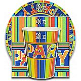 Party-Set New Party (60-teilig: Servietten, Teller, Becher), tradingbay24 (tbK0010)