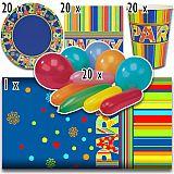 Party-Set New Party (81-teilig: Servietten, Teller, Becher, Tischdecke, Luftballons), tradingbay24 (tbK0011)