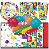 Party-Set Party Mix (81-teilig: Servietten, Teller, Becher, Tischdecke, Luftballons), tradingbay24 (tbK0013)
