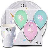 Party-Set Einhorn (66-teilig: Servietten, Teller, Becher, Luftballons), tradingbay24 (tbK0017)