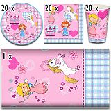 Party-Set Princess Dream (61-teilig: Servietten, Teller, Becher, Tischdecke), tradingbay24 (tbK0019)