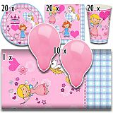 Party-Set Princess Dream (81-teilig: Servietten, Teller, Becher, Tischdecke, Luftballons), tradingbay24 (tbK0020)