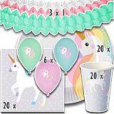 Party-Set Einhorn (69-teilig: Servietten, Teller, Becher, Luftballons, Girlanden), tradingbay24 (tbK0021)