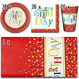Party-Set Happy Birthday (61-teilig: Servietten, Teller, Becher, Tischdecke), tradingbay24 (tbK0023)