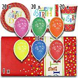 Party-Set Happy Birthday (71-teilig: Servietten, Teller, Becher, Tischdecke, Luftballons), tradingbay24 (tbK0024)