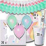 Party-Set Einhorn (169-teilig: Servietten, Teller, Becher, Luftballons, Girlanden, Trinkhalme), tradingbay24 (tbK0025)