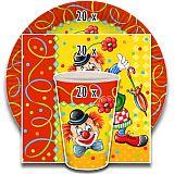 Party-Set Clown (60-teilig: Servietten, Teller, Becher), tradingbay24 (tbK0027)