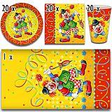 Party-Set Clown (61-teilig: Servietten, Teller, Becher, Tischdecke), tradingbay24 (tbK0028)