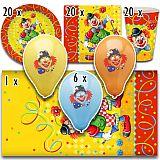 Party-Set Clown (67-teilig: Servietten, Teller, Becher, Tischdecke, Luftballons), tradingbay24 (tbK0029)