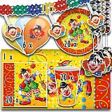 Party-Set Clown (72-teilig: Servietten, Teller, Becher, Tischdecke, Luftballons, Girlande), tradingbay24 (tbK0031)