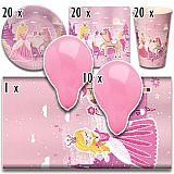 Party-Set Fairytale Princess (71-teilig: Servietten, Teller, Becher, Tischdecke, Luftballons), tradingbay24 (tbK0040)