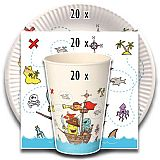 Party-Set Pirate Crew (60-teilig: Servietten, Teller, Becher), tradingbay24 (tbK0041)