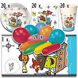 Party-Set Pirate Crew (81-teilig: Servietten, Teller, Becher, Tischdecke, Luftballons), tradingbay24 (tbK0043)