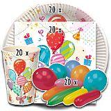 Party-Set Fete (80-teilig: Servietten, Teller, Becher, Luftballons), tradingbay24 (tbK0045)