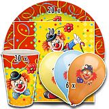 Party-Set Clown (66-teilig: Servietten, Teller, Becher, Luftballons), tradingbay24 (tbK0046)