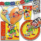 Party-Set Clown (71-teilig: Servietten, Teller, Becher, Luftballons, Girlande), tradingbay24 (tbK0047)