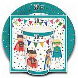 Party-Set Superhelden (60-teilig: Servietten, Teller, Becher), tradingbay24 (tbK0050)