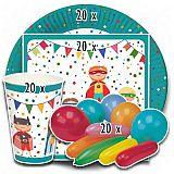 Party-Set Superhelden (80-teilig: Servietten, Teller, Becher, Luftballons), tradingbay24 (tbK0051)